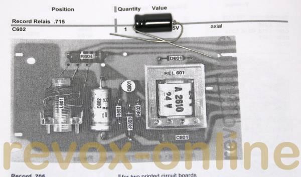 Kondensatorensatz Record Relais für Revox A77