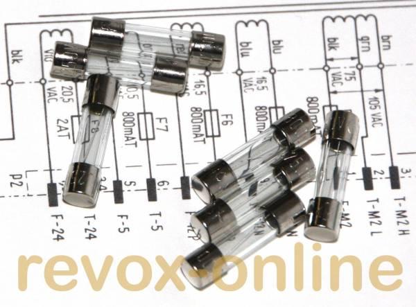 Sicherungssatz für Revox A700 , 7x 800mAT, 1x 2 AT, Glassicherungen, 20mm*5mm