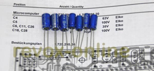 Kondensatorensatz Revox B150 Microcomputer