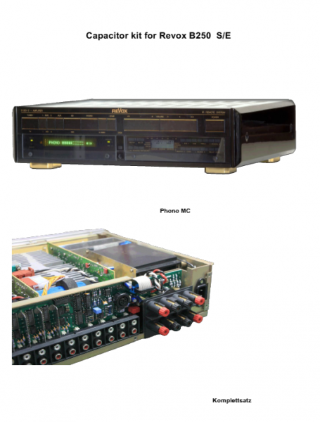 Kompletter Kondensatorensatz Revox B250 Phono MC ohne Ladekondensatoren