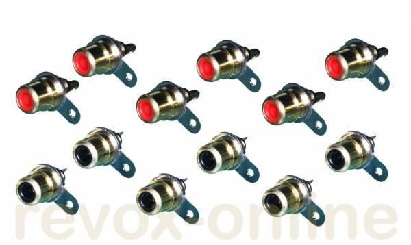 Cinch-Einbaubuchsen für Revox A78 6 x rot, 6 x schwarz, 6 pair RCA connector