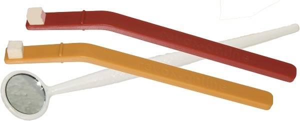 Reinigungsstäbchen (1x rot, 1x orange) und 1 Winkelspiegel