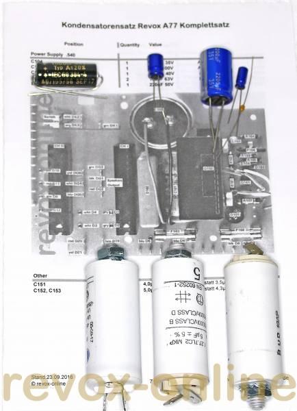 Kondensatorensatz Netzteil für Revox A77