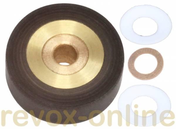 Andruckrolle Revox B77 mit Teflonscheiben und Kupferscheibe