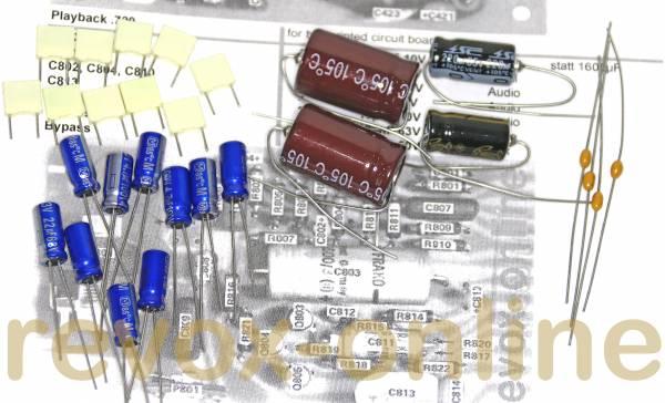 Kondensatorensatz Reproplatine für Revox A77 (MKI bis MKVI)