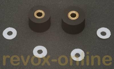 Gummi-Andruckrollen 2 Stück + 4 Teflonscheiben für Revox Studer A710, B710, 8.0mm u. 8.5mm