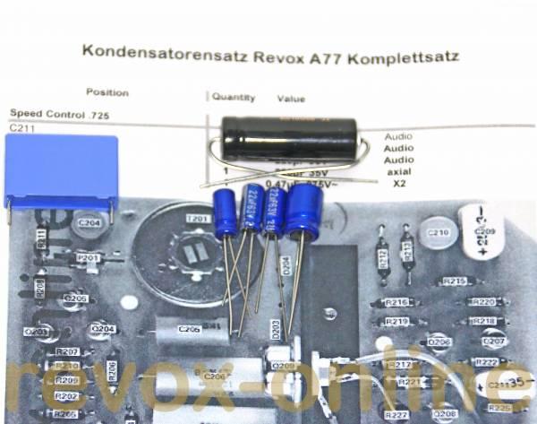 Kondensatorensatz Speedcontrol für Revox A77 L-Version (.725)