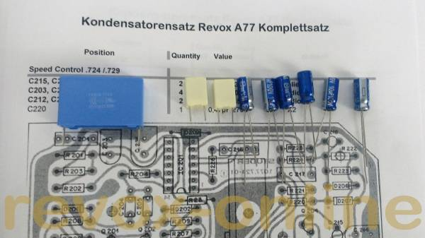 Kondensatorensatz Revox A77 Speedcontrol IC-Version
