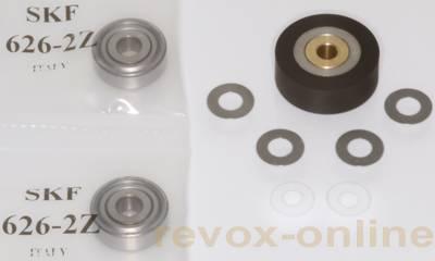Andruckrolle Revox B77 + Bandlauflager + Scheiben