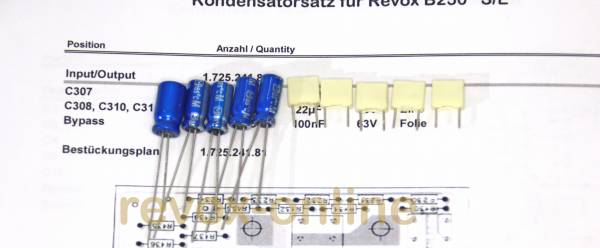 Kondensatorensatz Revox B250 Eingang / Ausgang