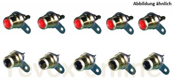 Cinch-Einbaubuchsen für Revox B739 5 x rot, 5 x schwarz, 5 pair RCA connector