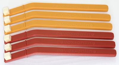 und 1 Winkelspiegel Reinigungsstäbchen 1x rot, 1x orange